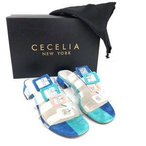 NEW Cecelia Lincoln Strappy Clear Slide Sandal